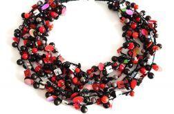 4795 naszyjnik czarny czerwony szary