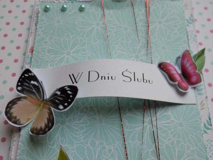 Kartka ślubna wiosenna - motyle