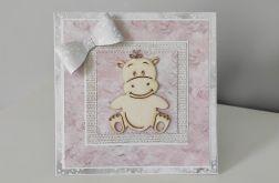 Kartka z okazji Narodzin Roczku Chrztu różowa hipopotam hipcio