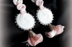 Kolczyki ślubne biało-różowe