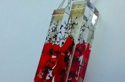 Czerwone Wino - kolczyki z żywicy i srebra