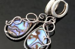 Kolczyki srebrne z muszlą Paua dwustronne