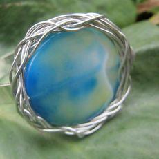Błękitny agat, bransoleta sztywna
