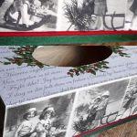Chustecznik vintage świąteczny z dziećmi - zdjęcie pokazuje jak wygląda chustecznik widziany od góry ale widać też i cały krótszy bok;  widać napisy listu o narodzinach Pana, oraz fotografie dzieci bawiących się na sankach (zdjęcia romantyczne vintage),