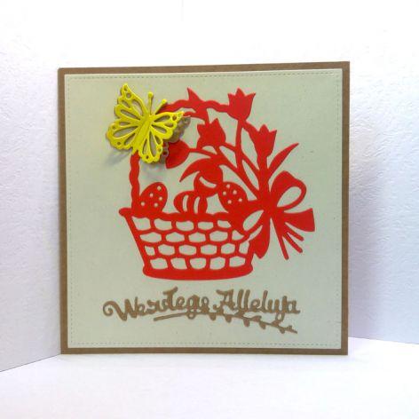 Kartka wielkanocna - czerwony koszyczek