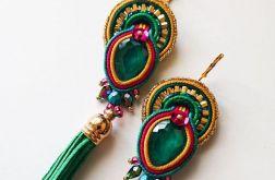 Zielono-kolorowe kolczyki z chwostami