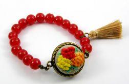 Bransoletka czerwone korale i chwost