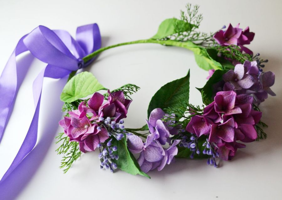 Wianuszek ślubny - Fioletowа hortensja
