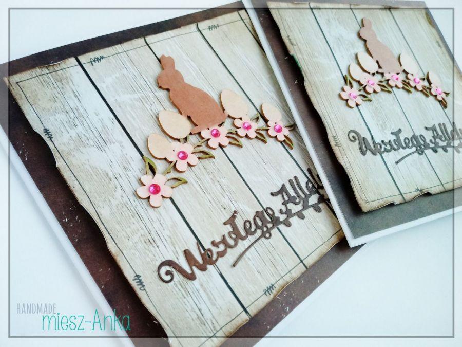 Kartka wielkanocna z zajączkiem i pisankami