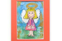 Mały aniołek obrazek ręcznie malowany nr11