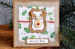 Kartka świąteczna z reniferem Rudolfem