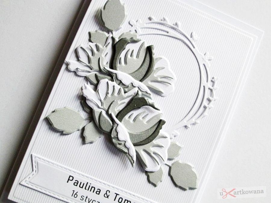Kartka Ślubna - szare róże - artka na ślub z szaro-białymi różami