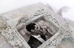 Kartka na ślub szarościach 1, prezent, pamiątka, pudełko