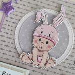 Kartka na roczekdls dziewczynki króliczek gwiazdki -