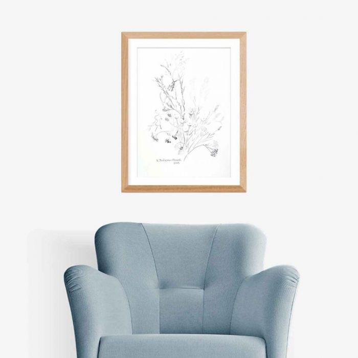 Grafika kwiaty polne czarno biała, minimalizm