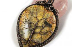 Drzewko Szczęścia wisior z agatem koronkowym