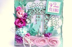 Kartka ślubna miętowo-różowa