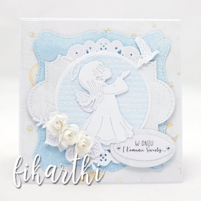 Kartka z aniołkiem na Komunię KK2001