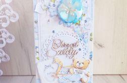 Kartka na chrzest Little Cuties błękit GOTOWA