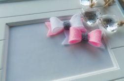 spineczki kokardki biało-różowo-szare