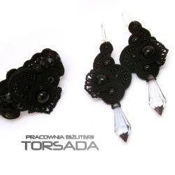 Komplet sutasz czarny bransoletka kolczyki