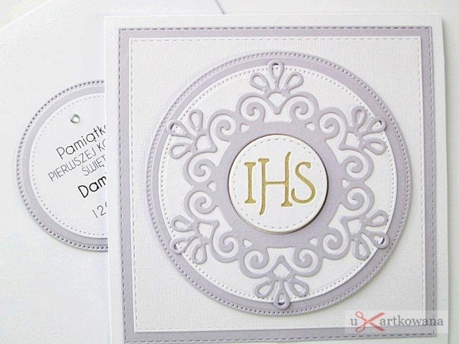 Kartka PAMIĄTKA I KOMUNII biało-fioletowa #1