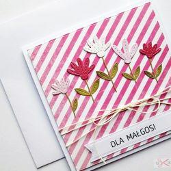 Kartka UNIWERSALNA biało-różowe paski
