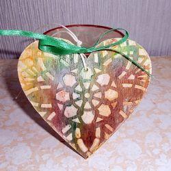 Serce brązowo - zielone