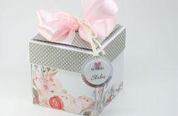 Ślubny box białe grochy