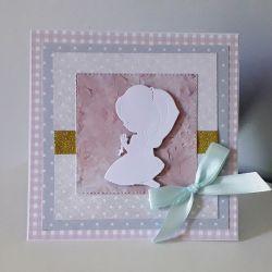 Kartka Komunia Święta dziewczynka biała