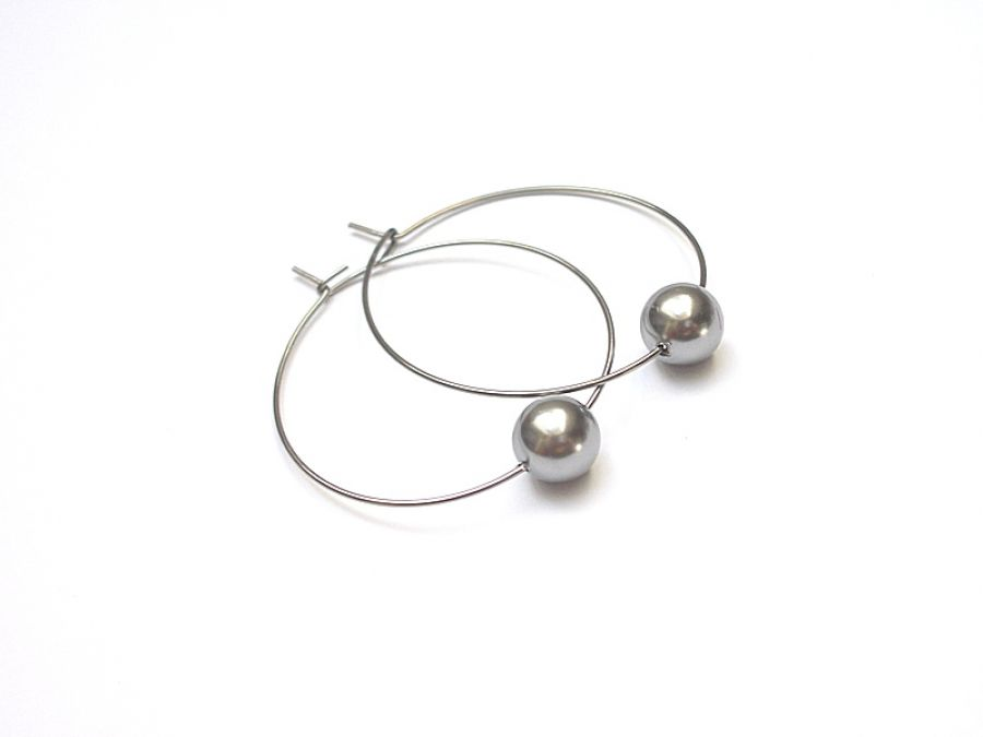 Alloys Collection /one pearl/ grey - kolczyki