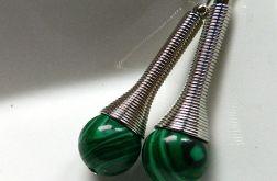 Malachit zielony, długie kolczyki, srebro