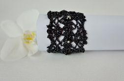 Bransoletka szydełkowa czarno-srebrna 5