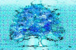 Nowoczesny obraz Niebieskie drzewo 60 x 40