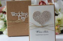 Rustykalna kartka ślubna z pudełkiem 4