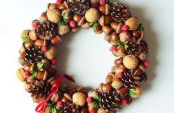 Wianek świąteczny brązowo czerwony