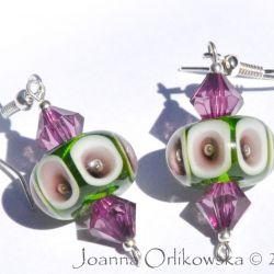 kolczyki oliwkowo-fioletowe