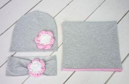 Komin, opaska i czapka dla dziewczynki