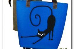 Bardzo duża niebieska, XXL minimalistyczna torebka z aplikacją 3D