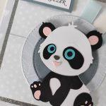 Kartka na Roczek ręcznie robiona panda -