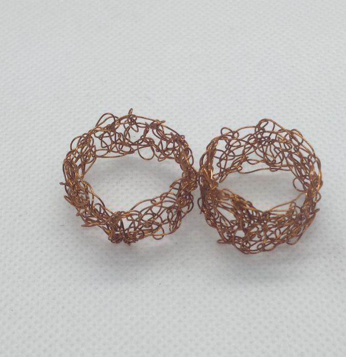 Obrączki miedziane wire crochet