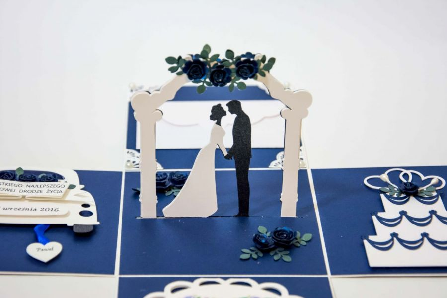 Kartka - pudełko z okazji ślubu - Kartka dla nowożeńców