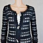 Płaszcz szydełkowy czarno-srebrny