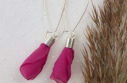 Różowe kolczyki ze srebrnymi dodatkami