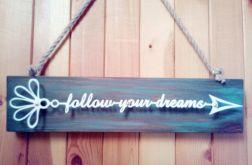 napis motywacyjny DREAMS metal/drewno biały