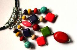 Kolorowy wisior z kamieniami,gratis kolczyki