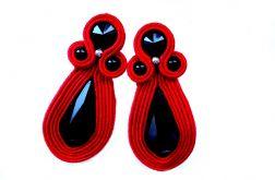 Kolczyki Sutasz wkrętki w czerwieni z kryształkami Swarovski