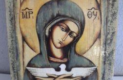 Matka Boza z gołąbkiem obrazek religijny