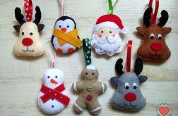 Ozdoby choinkowe z filcu świąteczne