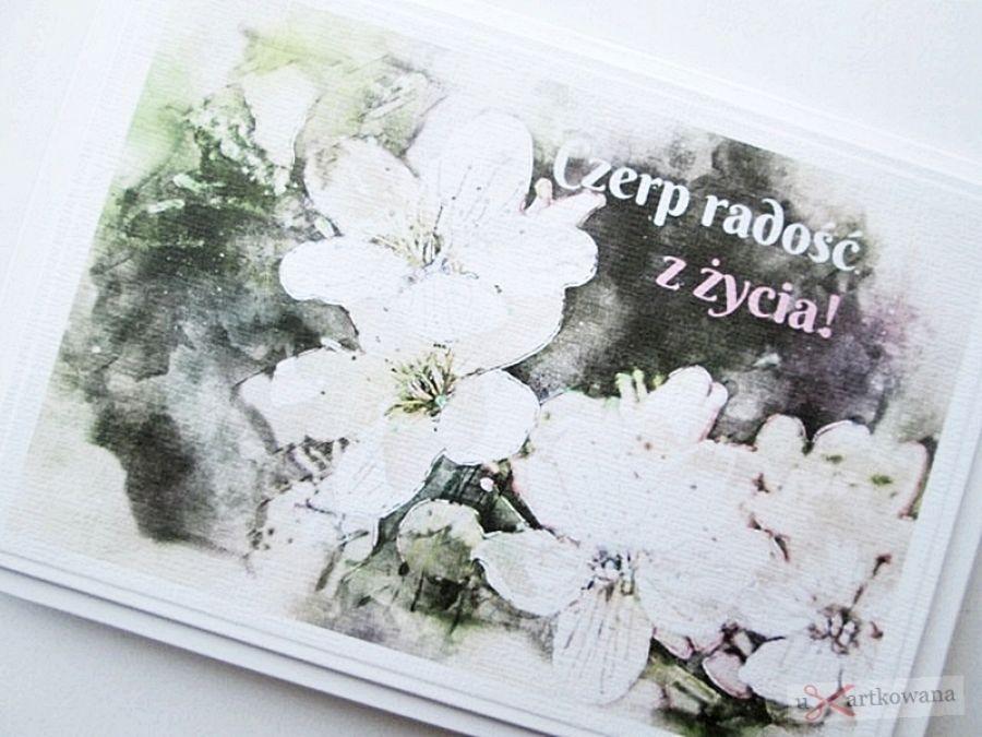 Kartka MOTYWACYJNA - biało-beżowe kwiaty